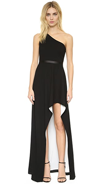 Halston Heritage One Shoulder Gown with High Low Skirt
