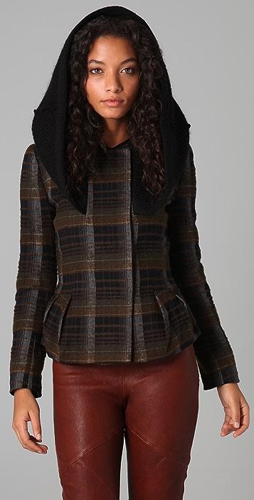 Hanii Y Plaid Coat with Knit Cape