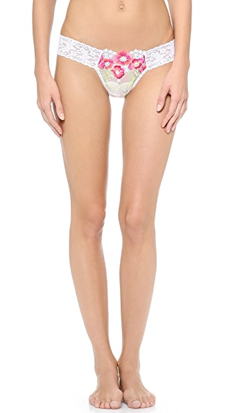 Hanky Panky Embroidered Mesh Low Rise Thong