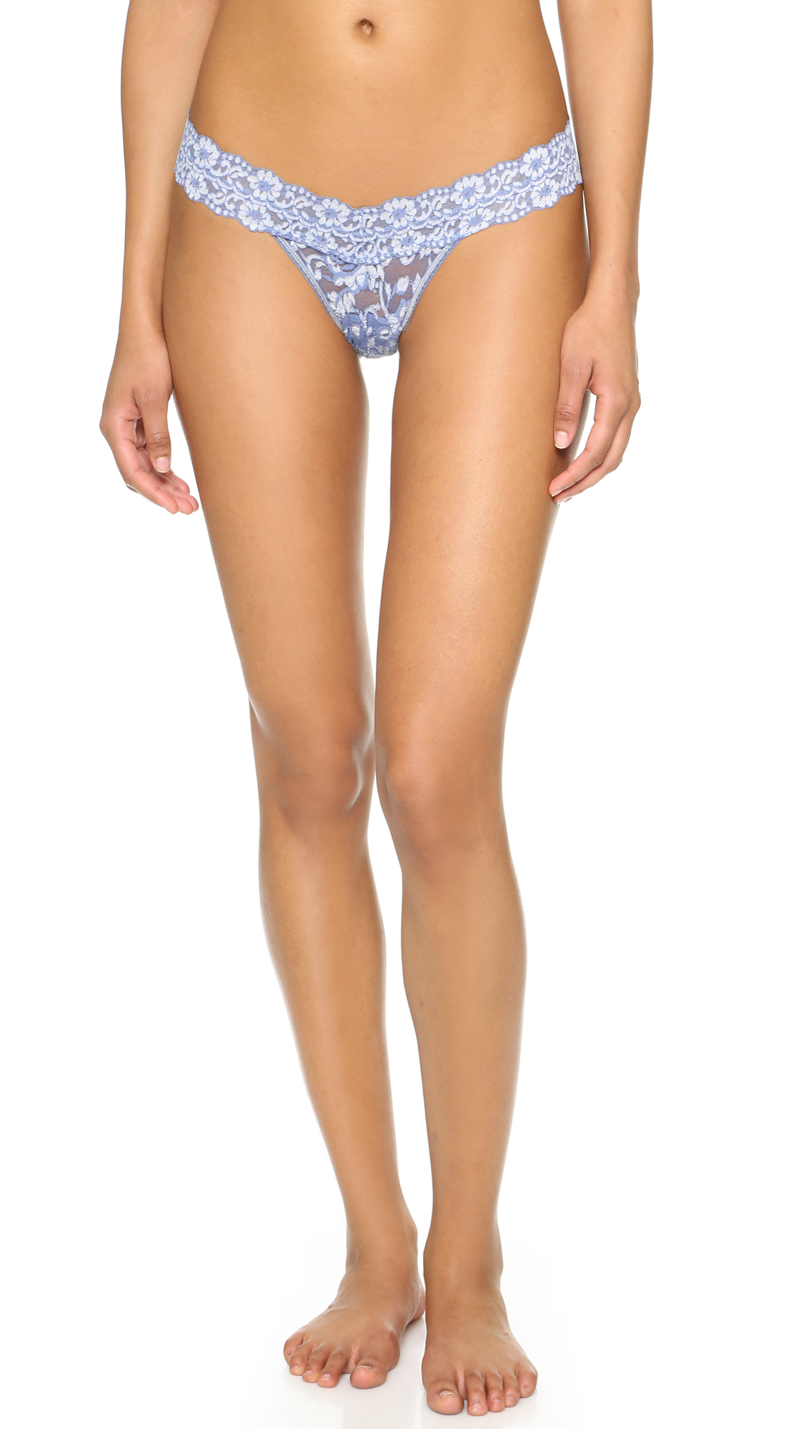 Hanky Panky Cross Dyed Signature Lace Low Rise Thong - Chambray/Ivory at Shopbop