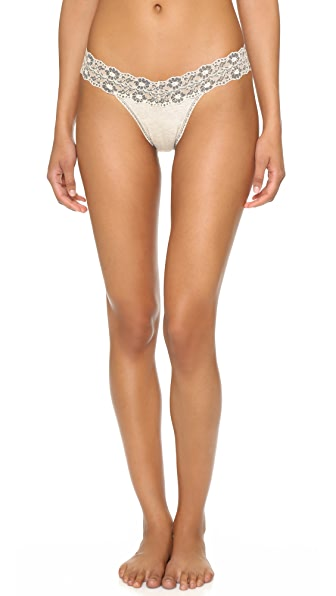 Hanky Panky Heather Jersey Low Rise Thong - Ivory Coal