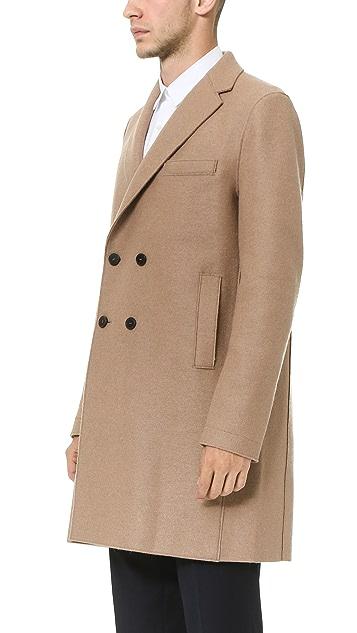 Harris Wharf London Double Breasted Boxy Pressed Wool Coat