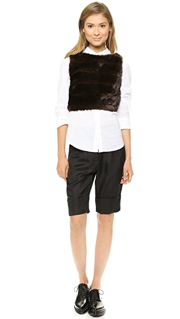 Harvey Faircloth Faux Fur Crop Top