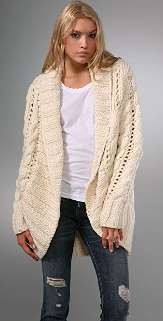 Haute Hippie Vintage Cabled Cardigan