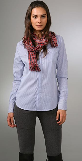 Haute Hippie Boyfriend Shirt with Scarf
