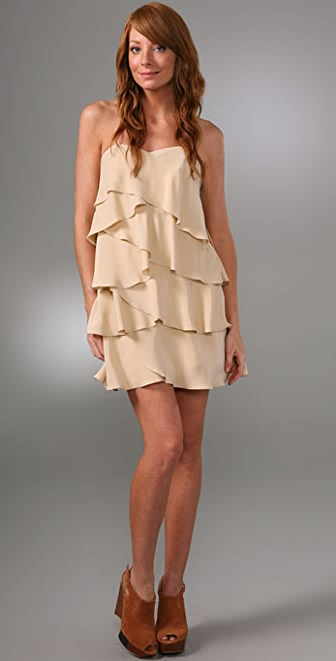 Haute Hippie Strapless Ruffle Cocktail Dress