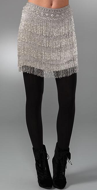 Haute Hippie Beaded Fringe Skirt