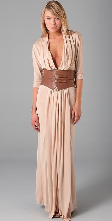 Haute Hippie Belted Column Gown