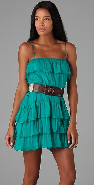 Haute Hippie Chiffon Tiered Dress with Belt