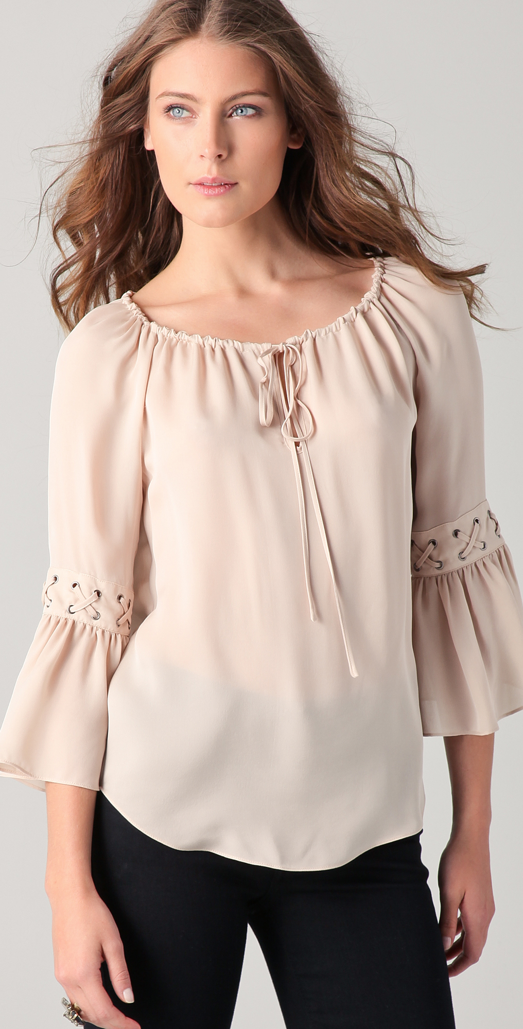 Haute Hippie Peasant Top with Eyelets | SHOPBOP