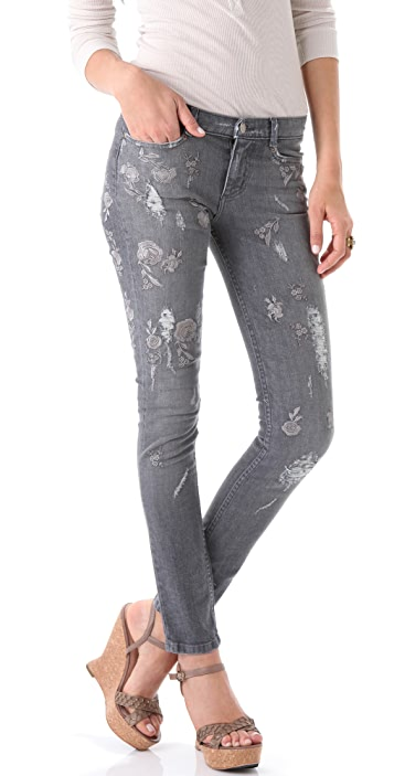 Haute Hippie Embroidered Skinny Jeans