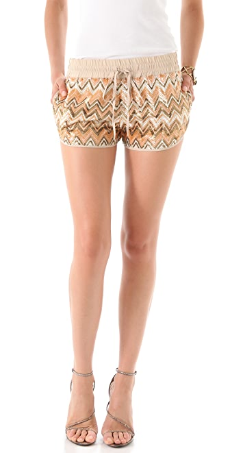 Haute Hippie Chevron Sequin Shorts