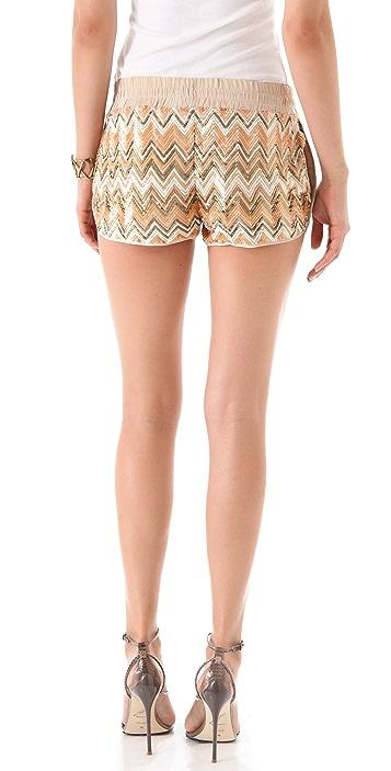 Haute Hippie Chevron Sequin Shorts