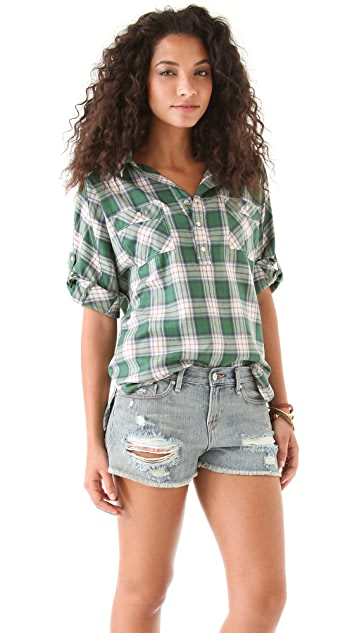 Haute Hippie Collared Plaid Blouse