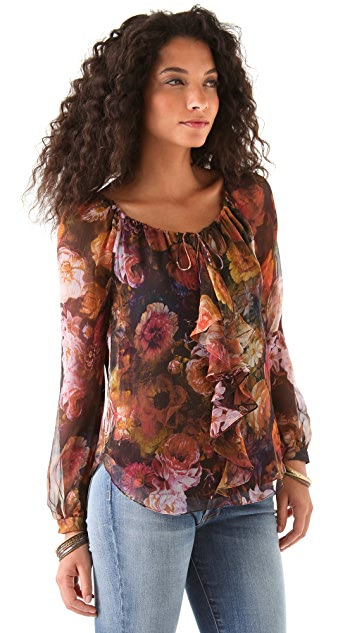 Haute Hippie Floral Ruffle Front Blouse