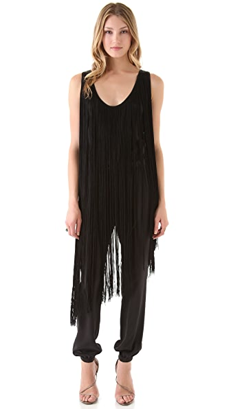 Haute Hippie Harem Jumpsuit with Fringe