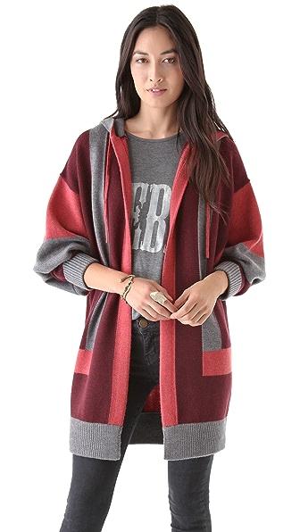 Haute Hippie Hooded Vertical Stripe Cardigan
