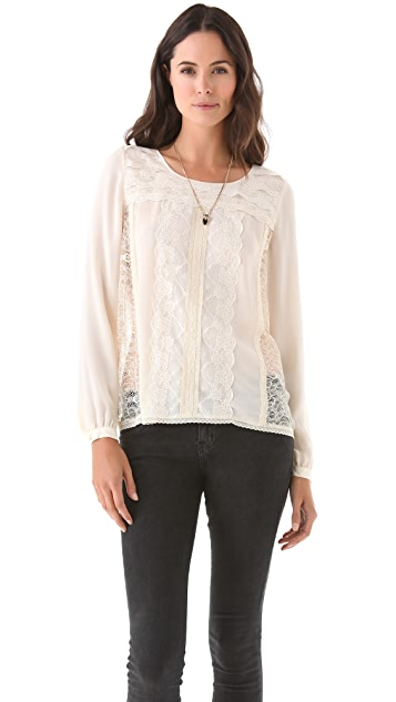 Haute Hippie Billowy Sheer Lace Blouse