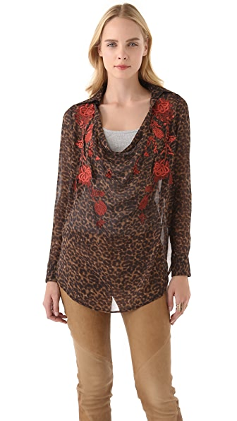 Haute Hippie Cowl Blouse with Floral Threadwork
