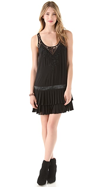 Haute Hippie Pleated Dress with Lace