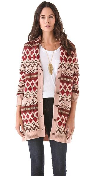 Haute Hippie Fair Isle Sweater Coat