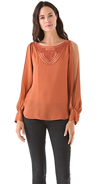 Haute Hippie V Neck Blouse with Crochet