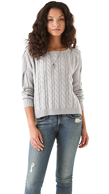 Haute Hippie Cropped Cable Sweater