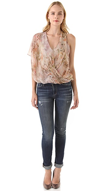 Haute Hippie One Sleeve Cinched Front Blouse
