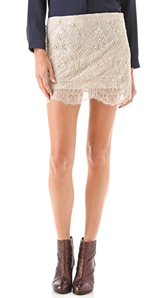 Haute Hippie Lace Embellished Mini Skirt