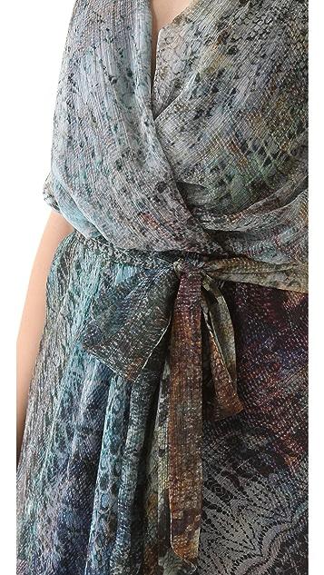 Haute Hippie Cascade Print Halter Dress