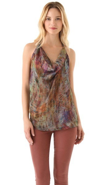Haute Hippie Criss Cross Printed Top