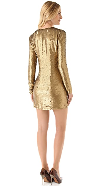Haute Hippie V Neck Sequined Dress