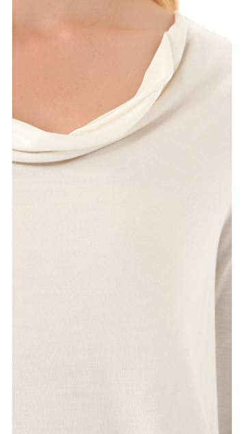 Haute Hippie Keyhole Cowl Tee with Long Sleeves