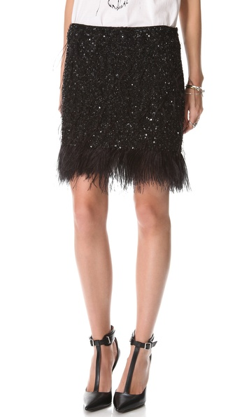 Haute Hippie Feather Sequin Miniskirt