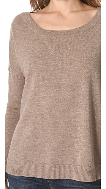 Haute Hippie Lurex Off Shoulder Sweater