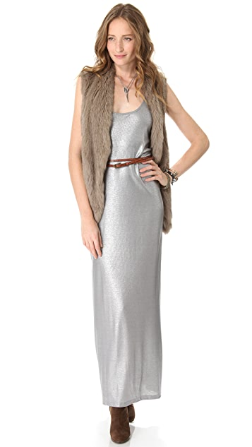 Haute Hippie T Back Metallic Gown