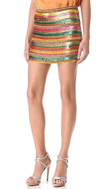 Haute Hippie Sequin Striped Miniskirt