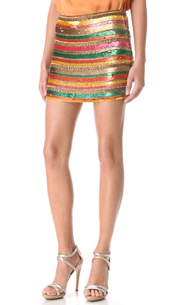 Haute Hippie Sequin Striped Miniskirt