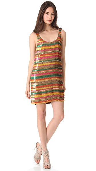 Haute Hippie Sequin Striped Tank Dress