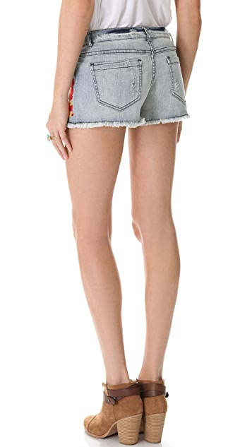 Haute Hippie Embroidered Cutoff Shorts