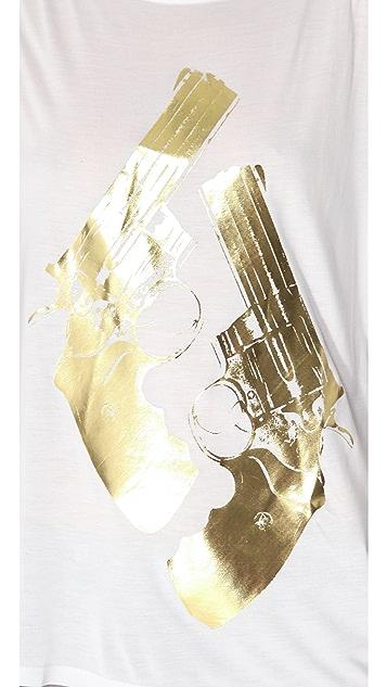 Haute Hippie Metallic Gold Guns Tank