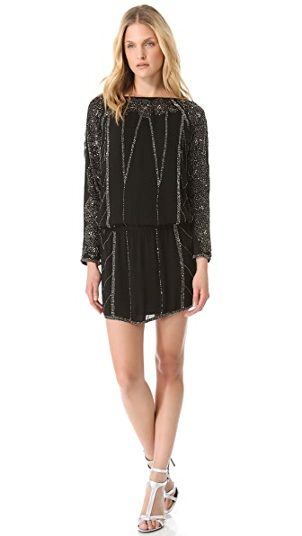 Haute Hippie Beaded Roses Dolman Mini Dress