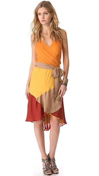 Haute Hippie Colorblock Crisscross Dress