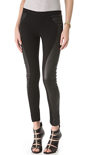 Haute Hippie Ponte and Leather Leggings
