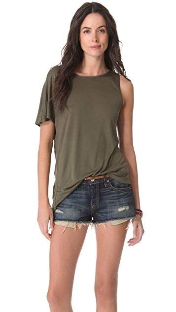 Haute Hippie One Shoulder Deep V Tee