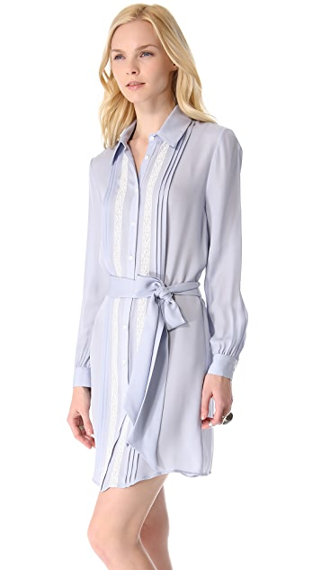 Haute Hippie Pleated Shirtdress with Lace