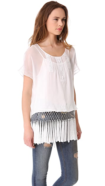 Haute Hippie Chiffon Tee with Fringed Cami Lining