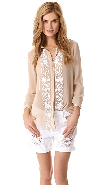 Haute Hippie Embroidered Button Down Blouse