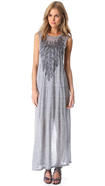 Haute Hippie Feather Collar Maxi Dress