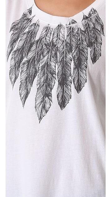 Haute Hippie Feather Collar Tee